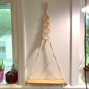 Macrame Hanging Wall Shelf • 12 Inch Plant Shelf